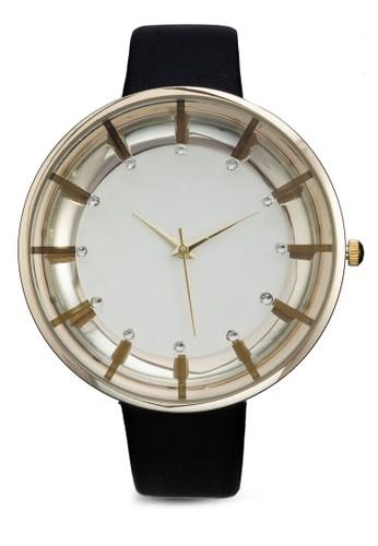 經zalora鞋典閃飾皮革手錶, 錶類, 休閒型