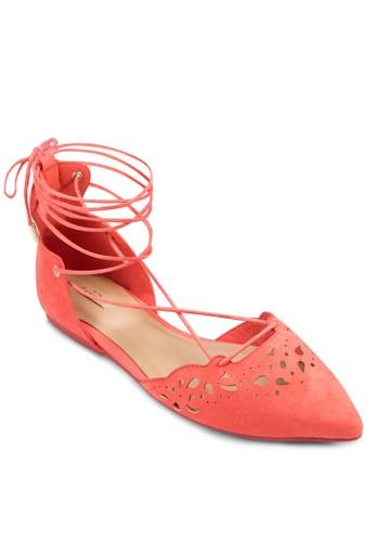 zalora 評價Harmony 雕花尖頭繞踝平底鞋, 女鞋, 鞋