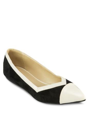 雙色zalora 心得尖頭娃娃鞋, 女鞋, 芭蕾平底鞋
