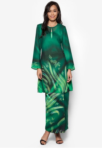 Female Batik Kurung from Gene Martino in Green
