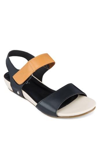 雙色寬帶繞踝平底涼鞋, 女鞋, 涼zalora 鞋評價鞋