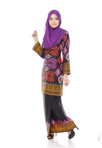 Royal Songket Kurung Modern – Black Purple from Maribeli Butik in Black and Purple