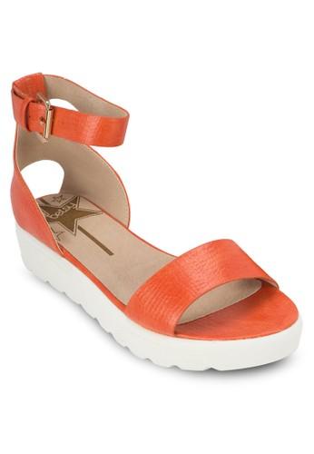 素色繞踝厚底涼鞋zalora鞋子評價, 女鞋, 鞋