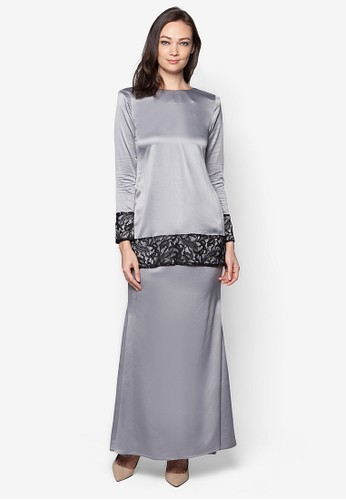 Sahara Kurung Modern from Izzabell Couture in Grey