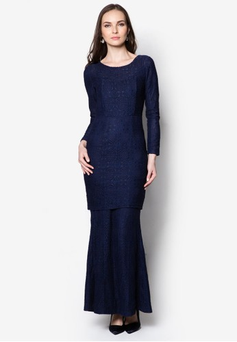 Carissa Lace Kurung from VERCATO in Navy