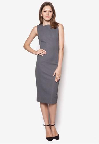 條紋無zalora 包包評價袖連身裙, 服飾, 服飾