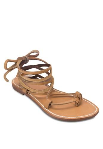 zalora鞋交叉纏繞平底涼鞋, 女鞋, 涼鞋