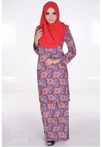 Elena Baju Kurung Pesak in Peach from Maribeli Butik in Pink