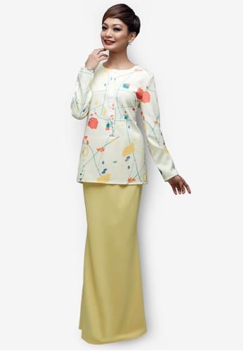 Emel x Atilia Haron Tyro Modern Baju Kurung from Emel by Melinda Looi in Yellow and Multi