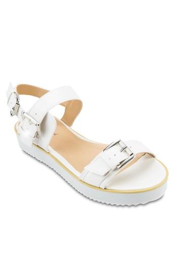 雙扣環一字繞踝厚底涼鞋,zalora 心得 女鞋, 鞋