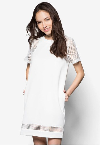 網眼拼接直筒連身裙, zalora退貨服飾, 短洋裝