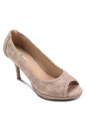 仿蛇紋露zalora 台灣趾高跟鞋, 女鞋, 中跟