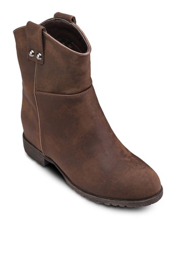 Sofie 鉚釘中筒踝靴, 女鞋zalora 衣服評價, 靴子