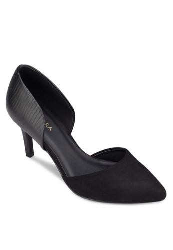異材質拼接側空高跟鞋zalora taiwan 時尚購物網, 女鞋, 厚底高跟鞋