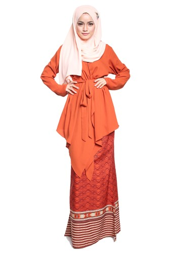Atiya Baju Kurung Kimono from Tulips & Thyme in Orange and Brown