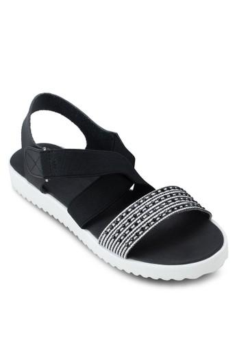 Cricket 彈性印花繞踝涼鞋, 女鞋, 涼zalora 評價鞋