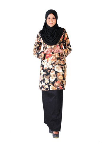 Tihani Classic Kurung In Flowery & Yellow from Syus Couture in Black and Yellow
