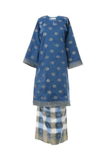 Women's Kurung Pahang Songket Tabur Blue from MOTHER & CHILD in Blue