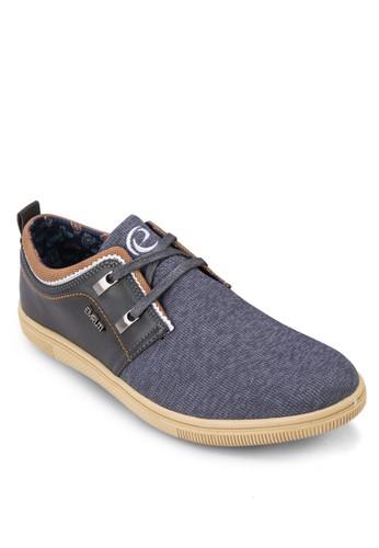 異材質拼接繫帶休閒鞋, 鞋, zalora 泳衣鞋