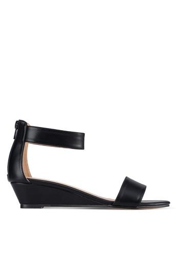 一字帶繞踝楔zalora 心得形鞋, 女鞋, 楔形涼鞋