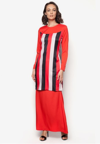 Baju Kurung Modern from Gene Martino in Red