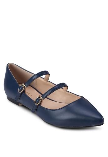 雙扣環尖zalora退貨頭仿皮平底鞋, 女鞋, 芭蕾平底鞋