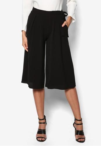褶飾繫帶五分寬管褲, 服飾, zalora鞋服飾