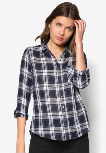 Navy Roll Szalora開箱leeve Check Shirt, 服飾, 襯衫