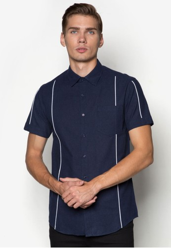 Brushed Cotton Short Sleeve Shzalora 鞋評價irt With Piping, 服飾, 襯衫