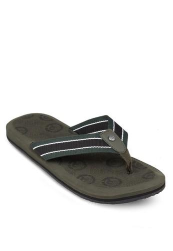 雙色條紋夾腳背zalora 台灣門市面拉鍊開襟鞋, 鞋, 拖鞋