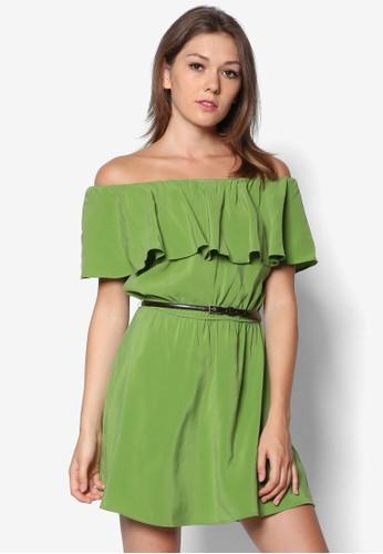 露肩荷葉飾細腰帶連身裙, 服飾, 服zalora 包包 ptt飾
