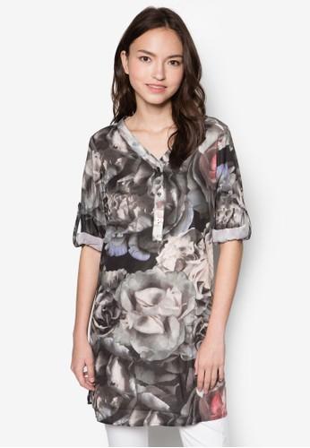 花卉圖案V 領長袖衫, 服飾, zalora 男鞋 評價服飾