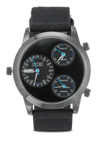 三時區帆布帶男士裱, 錶類zalora 台灣, 其它錶帶