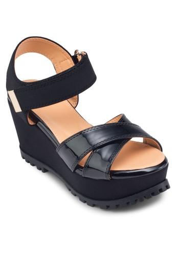 交叉帶繞踝楔形zalora 心得涼鞋, 女鞋, 鞋