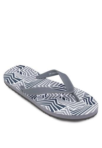 幾何zalora 台灣印花夾腳拖, 鞋, 拖鞋