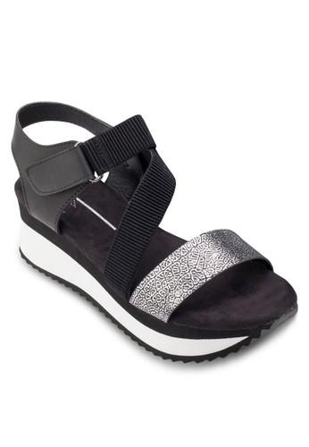 異材質繞踝厚底涼鞋, 女zalora 鞋評價鞋, 楔形涼鞋
