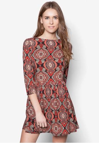 民族風印花連身zalora 鞋評價裙, 服飾, 服飾