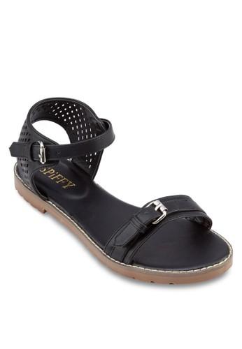 網眼繞zalora 包包 ptt踝一字帶涼鞋, 女鞋, 涼鞋