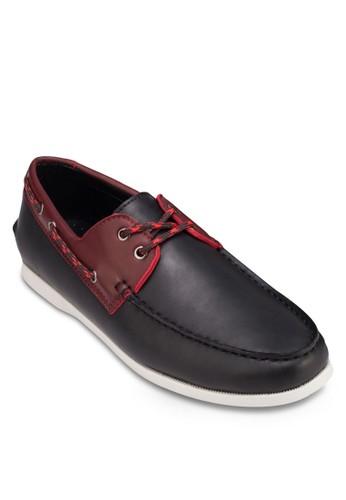 撞色拼接仿皮船型鞋, 鞋, 船型zalora 男鞋 評價鞋