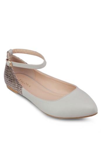 蛇紋拼接繞踝平底鞋, 女鞋, 芭zalora 泳衣蕾平底鞋
