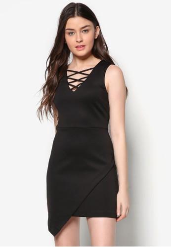 Love 繫帶V zalora 手錶領裹飾洋裝, 服飾, 洋裝
