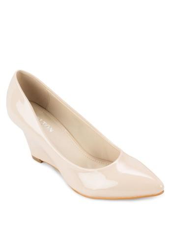 漆面尖頭楔形鞋,zalora 台灣 女鞋, 鞋