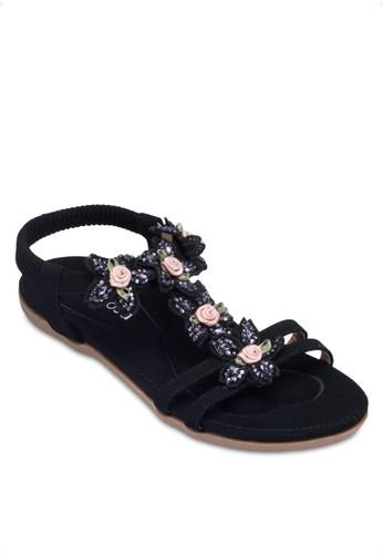花飾T字帶繞踝zalora鞋子評價涼鞋, 女鞋, 涼鞋