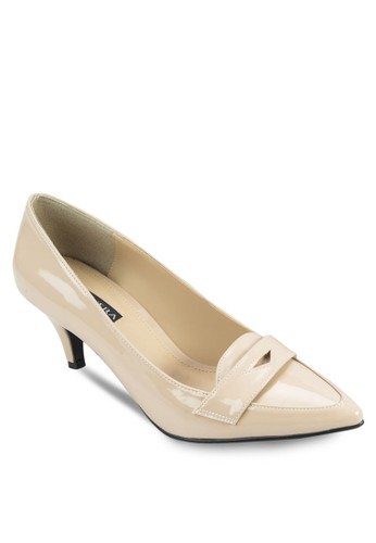VAL zalora鞋子評價尖頭便士樂福低跟鞋, 女鞋, 厚底高跟鞋