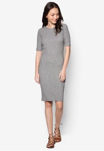 Petite 羅紋短袖連身裙, 服飾,zalora鞋 洋裝