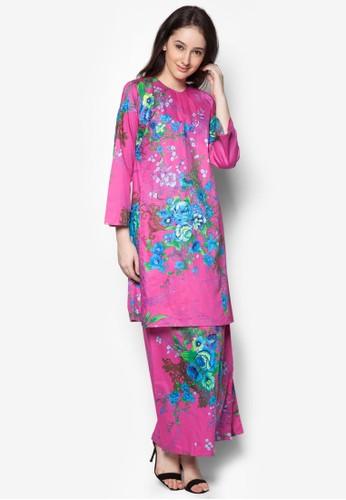 Baju Kurung Pahang Japanese Cotton Olive from Butik Sireh Pinang in Pink
