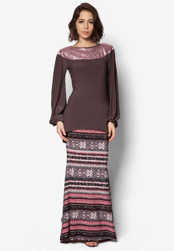 Mullet Shoulder Sequin Midi Kurung from Zuco Fashion in Grey