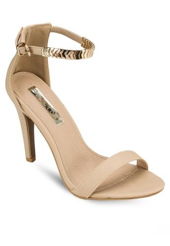 Farrahzalora 心得 露趾金飾繞踝高跟鞋, 女鞋, 鞋