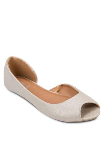 Max 亮面露趾側空平底鞋, zalora 鞋評價女鞋, 芭蕾平底鞋