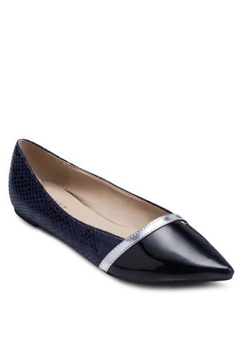 拼色蛇紋尖頭平底鞋,zalora 鞋評價 女鞋, 芭蕾平底鞋